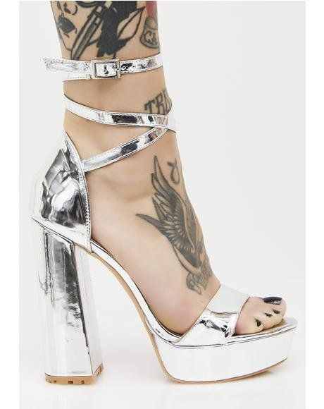 f86c02bbb94 Platinum Mars Strappy Flared Heel Platforms Public Desire Shoes