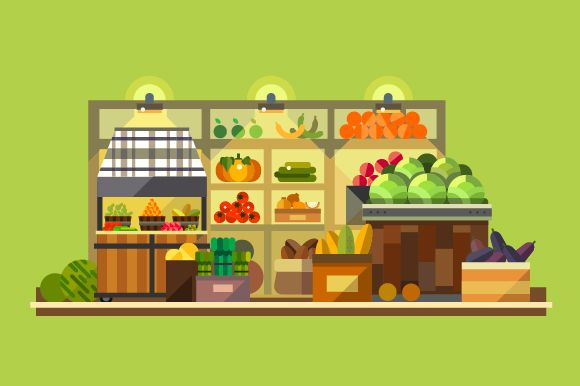 Shop interior. Organic food by TastyVector on Creative Market