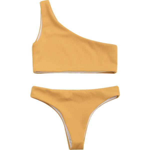Ribbed Texture One Shoulder Bikini ($14) ❤ liked on Polyvore featuring swimwear, bikinis, swimsuits, bathing suits, zaful, bathing suits bikini, swimsuits two piece, bikini swimsuit, one shoulder swimsuit two piece and one shoulder bikini swimsuit