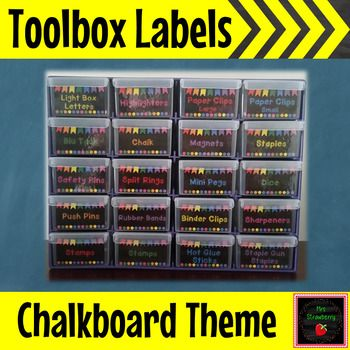 Chalkboard Bunting Toolbox Drawer Labels ** Editable: These chalk board toolbox labels fit perfectly into 20 drawer toolboxes or storage compartments. Each label measures 6x3.5cm.