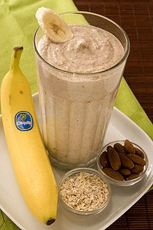 BANANA OATMEAL SMOOTHIE: Ingredients: 2 Bananas (ripe), 2 cups Ice, 1/3 cup Yogurt - preferably Greek yogurt flavored with honey, 1/2 cup Cooked oatmeal, 1/3 cup Almonds - Pour all ingredients in blender pouring ice in last. Blend on high for 30 seconds or until smoothie thickens. (Nutritional info:Calories 380; Total Fat 15 g (Sat 2 g, Trans 0 g, Poly 4 g, Mono 8 g); Cholesterol 5 mg; Sodium 35 mg; Total Carbohydrates 53 g; Dietary Fiber 9 g; Total Sugars 19 g; Protein 12 g.)