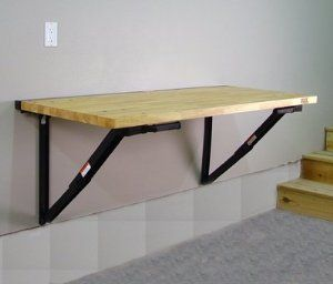 """Bench Solution Workbench & IdealWall Kit by Bench Solution. $377.34. Bench Solution is a space saving, durable, fold down workbench.  In the upright position, the 60"""" x 24"""" x 1 1/2"""" butcher block surface gives plenty of room to work and organize, and has a 400 lb. capacity.  When in the down position, Bench Solution folds down to under 4"""" from the wall, making the the perfect space saving workbench.   Includes 3' x 5' IdealWallTM tool organizing panel. It is a high qua..."""