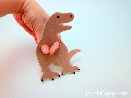 Тиранозавр Рекс выкройки пальчиковых игрушек динозавров из фетра