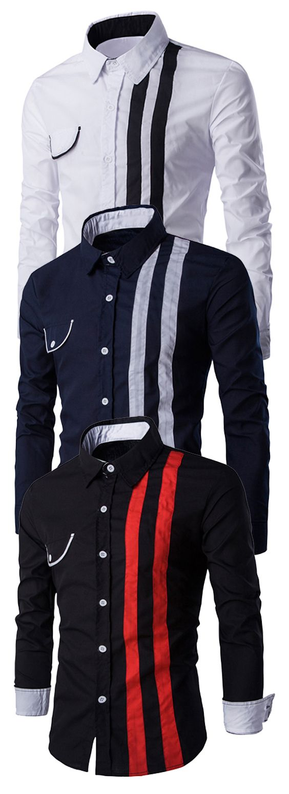 Flap Embellished Verticla Stripe Turn-Down Collar Long Sleeve Shirt For Men