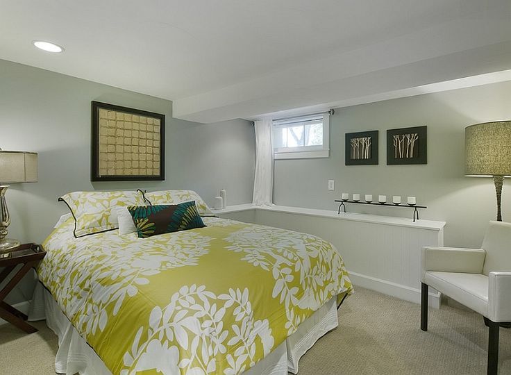 Basement bedroom with a simple color scheme