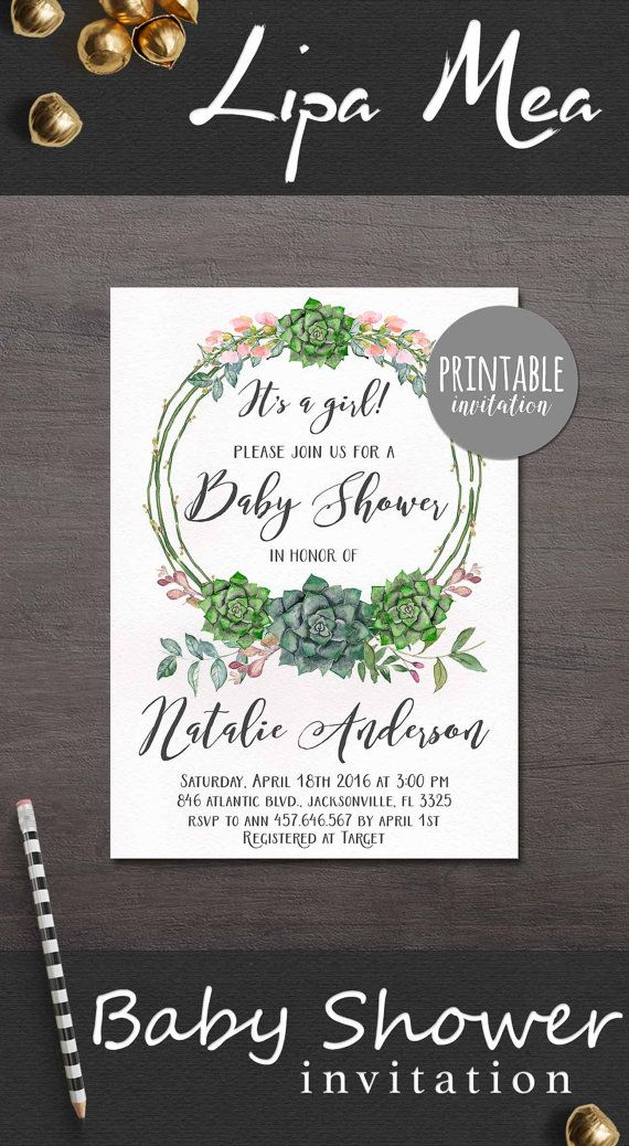 Baby Shower Invitation Succulent, Floral Baby Shower Invitation, Boho Baby Shower Invite, Bohemian Baby Shower Invite. lipamea.etsy.com