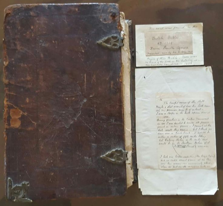 Example of a Boer family Bible (Pretorius from Standerton) that was taken as a war souverneur by major John Mannsell Reeves. In 1920 the BBC requested the ex-soldiers in to send them back. There are about a 100+ of these unclaimed war souverneur Bibles in the archive in Pretoria.