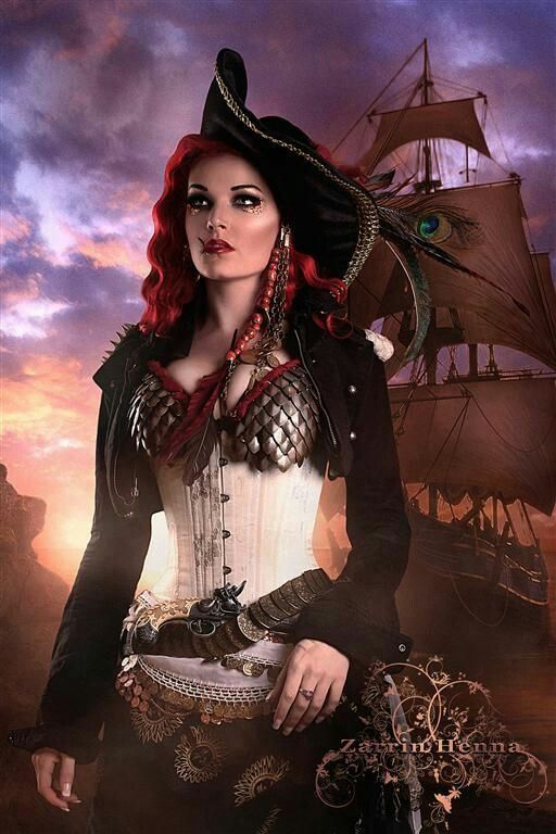 Beautiful steampunk pirate captain. Her scaled breast plate is gorgeous.