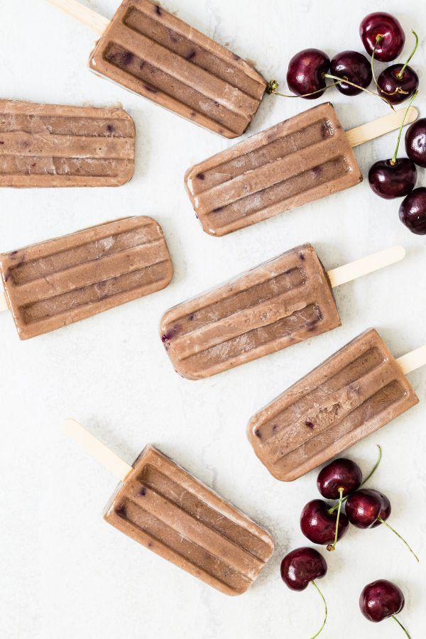 High protein chocolate cherry popsicles