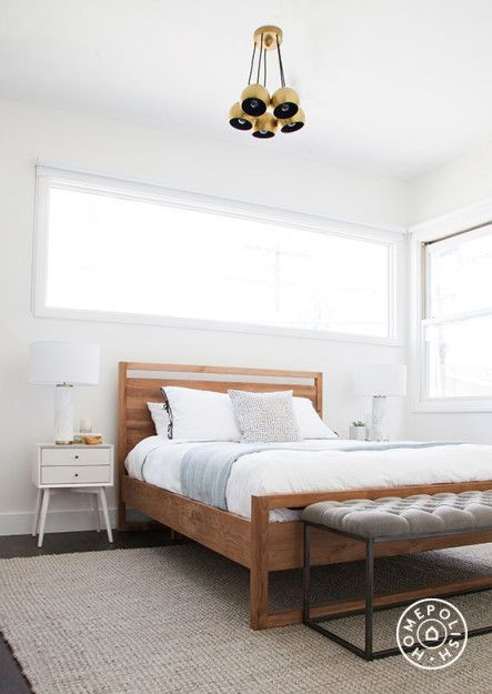 """The Beach House, Part 2 - This <a href=""""http://www.crateandbarrel.com/linea-bed/f34490"""" target=""""_blank"""">bed</a> was one of my favorite finds. If you've ever searched for an affordable modern wooden bed, you'll know it's not easy to find one that isn't $150,000. And it kind of makes me want a new bed to replace <a href=""""http://hommemaker.com/2014/08/07/a-new-bedroom-gets-newer-with-some-new-newness/"""" target=""""_blank"""">my new one</a>. by Homepolish Los Angeles ..."""