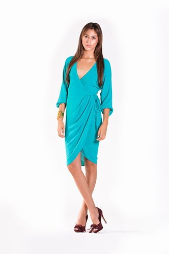 MYSTIC COLLECTION by @ReiGiraldo for @ARTbition ARTbition  DRESS REF: VMC004 Wrap dress, drape set with internal breasted.  Details: Creppe, lined, left side strap for adjustment.  Aqua green.