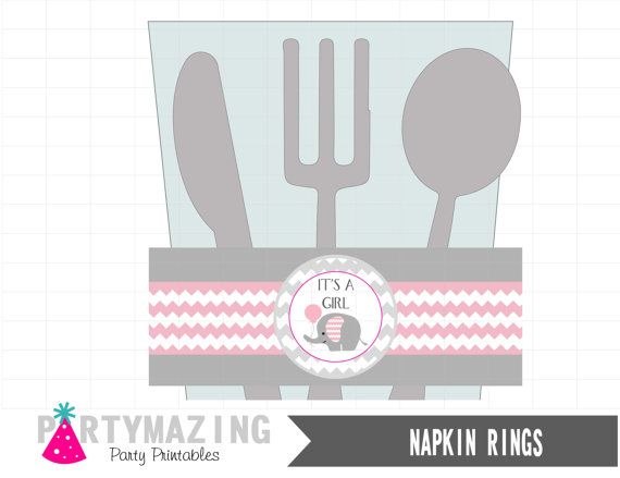 Pink Elephant  Party Printable Napkin Rings DIY by Partymazing
