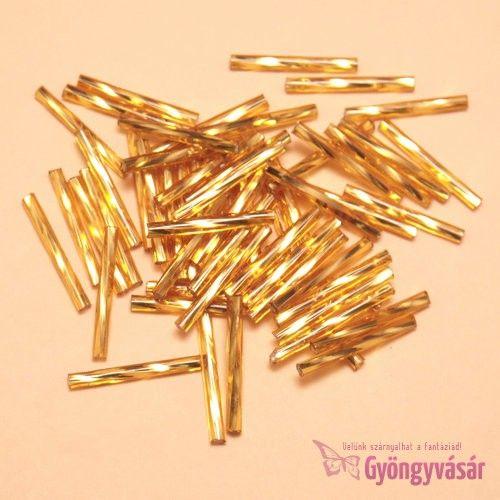Ezüst közepű aranyszínű, 20 mm-es cseh szalmagyöngy (10 g) • Gyöngyvásár.hu