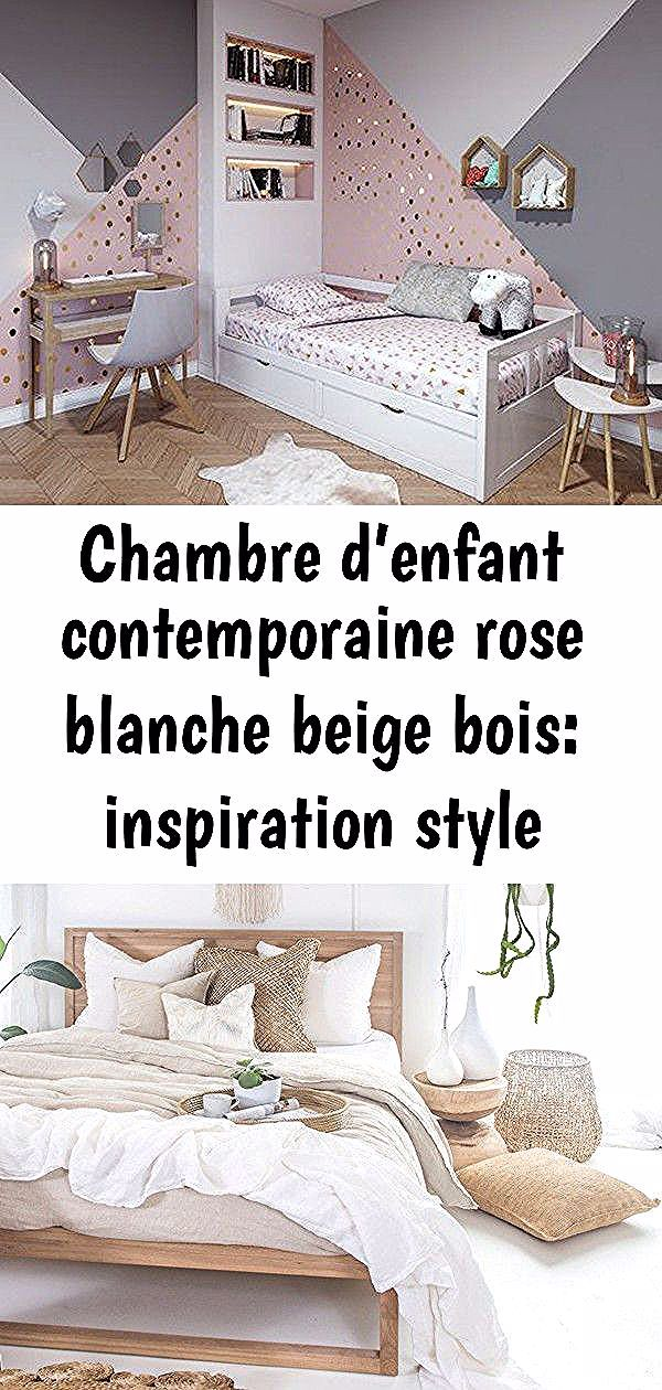 Chambre D Enfant Contemporaine Rose Blanche Beige Bois