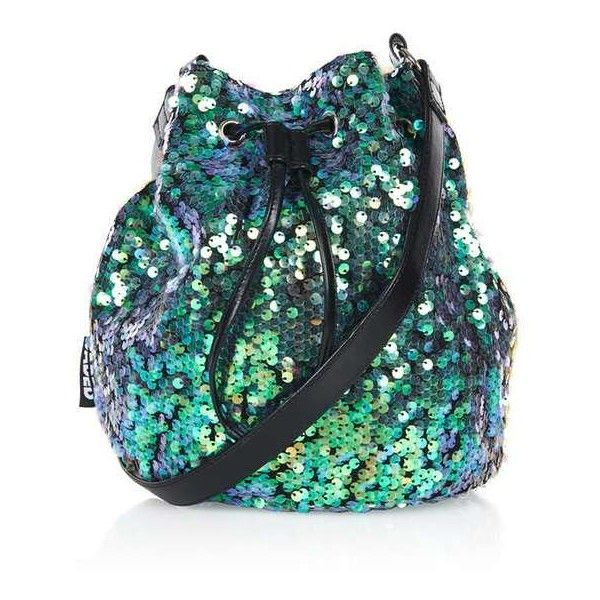 Mermaid Sequin Bucket Bag by Jaded London ($64) ❤ liked on Polyvore featuring bags, handbags, shoulder bags, accessories, topshop purse, print purse, sequin handbags, drawstring shoulder bag and topshop