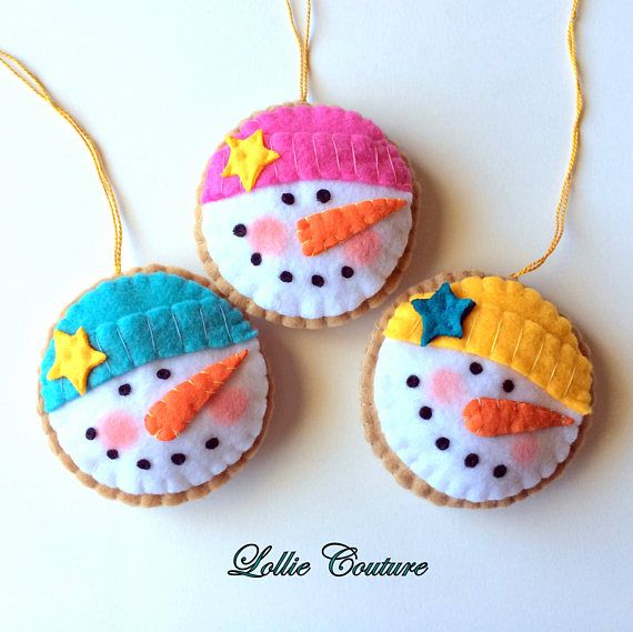 One Felt Snowman Ornament MODERN HOLIDAY By Lollie Couture