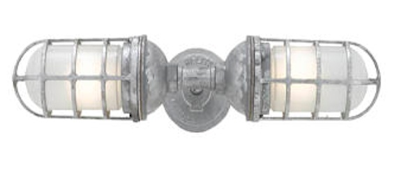 """22"""" Wall Mount Double  Sconce, 96-Galvanized, Frosted Glass: Barns Lights, Lights Fixtures, Trav'Lin Lights, Lights Electric, Bathroom Lighting, Wall Sconces, Sconces Lights, Bathroom Lights, Lights Wall"""