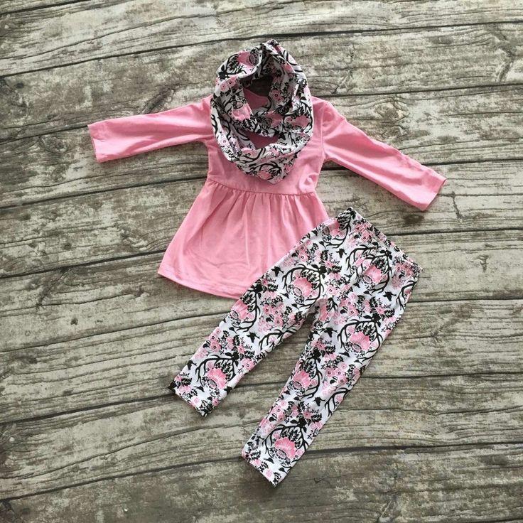 3 pieces scarf pink top Aztec pant set