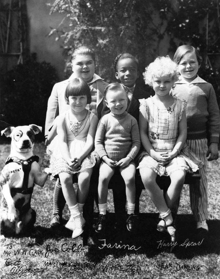 Mary Ann Jackson, Bobby 'Wheezer' Hutchins, Jean Darling, Joe Cobb, Allen 'Farina' Hoskins, Harry Spear and Pete the Dog