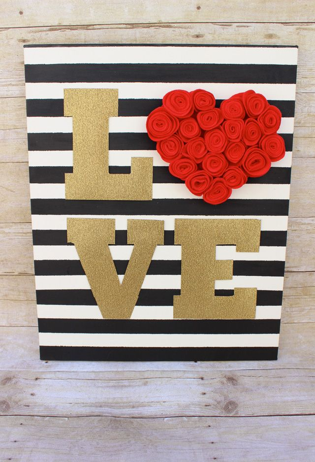 Gold Glitter Felt Rosette Love Sign for Valentines Day