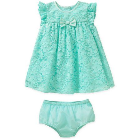 George Newborn Baby Girls' Easter or Special Occasion Mint Trapeze Dress, Green