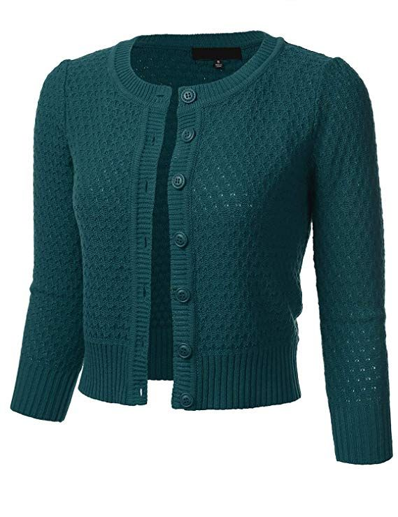 29eaa0db7b279c FLORIA Women's Button Down 3/4 Sleeve Crew Neck Cotton Knit Cropped  Cardigan Sweater Aqua S at Amazon Women's Clothing store: