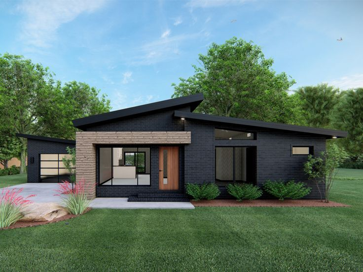 074h 0134 Modern Ranch House Plan Contemporary House Exterior Contemporary House Plans Modern Style House Plans
