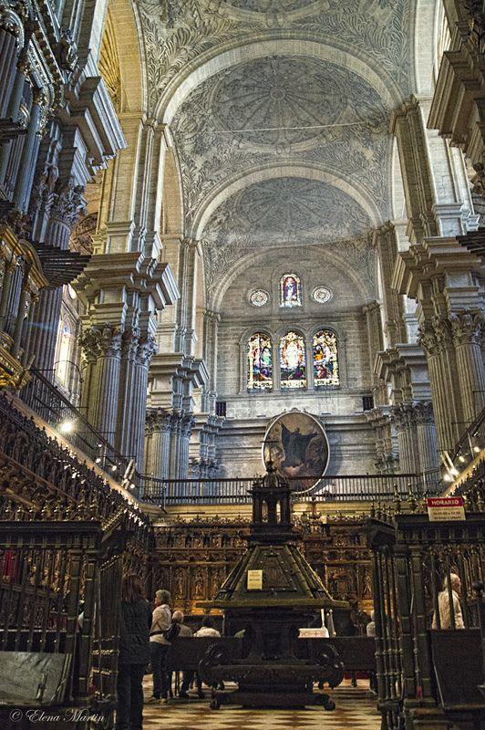 Coro en el interior de la S.I. Catedral de la Encarnación, Málaga, España (Spain)