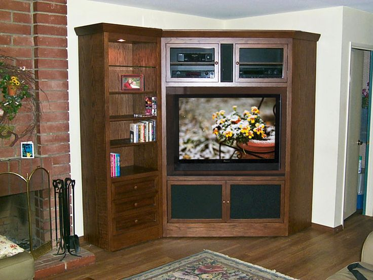 corner entertainment center pictures | Corner TV Armoire and Bookcase C-180 - Oak Wood Designs For Flat Panel ...