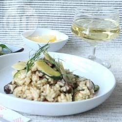 Zucchini, Bacon and Mushroom Risotto----A risotto with good strong - but not overpowering - flavours of mushroom, zucchini, onion and bacon. Preparation: 0:15, Cook: 1:00, Serves:6, Unrated.