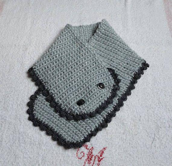 Tour de cou snood écharpe gris argenté en laine mohair pour ... d6484d528b6