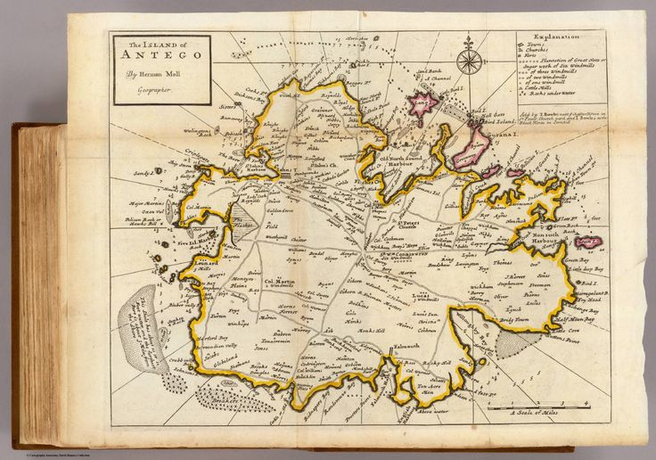 David Rumsey Map Collection:  Buy print - 30 inches is $89.95.  The island of Antego. By H. Moll Geographer. Sold by T. Bowles next ye Chapter House in St. Pauls Church yard, & I. Bowles at the Black Horse in Cornhill, (1736?)
