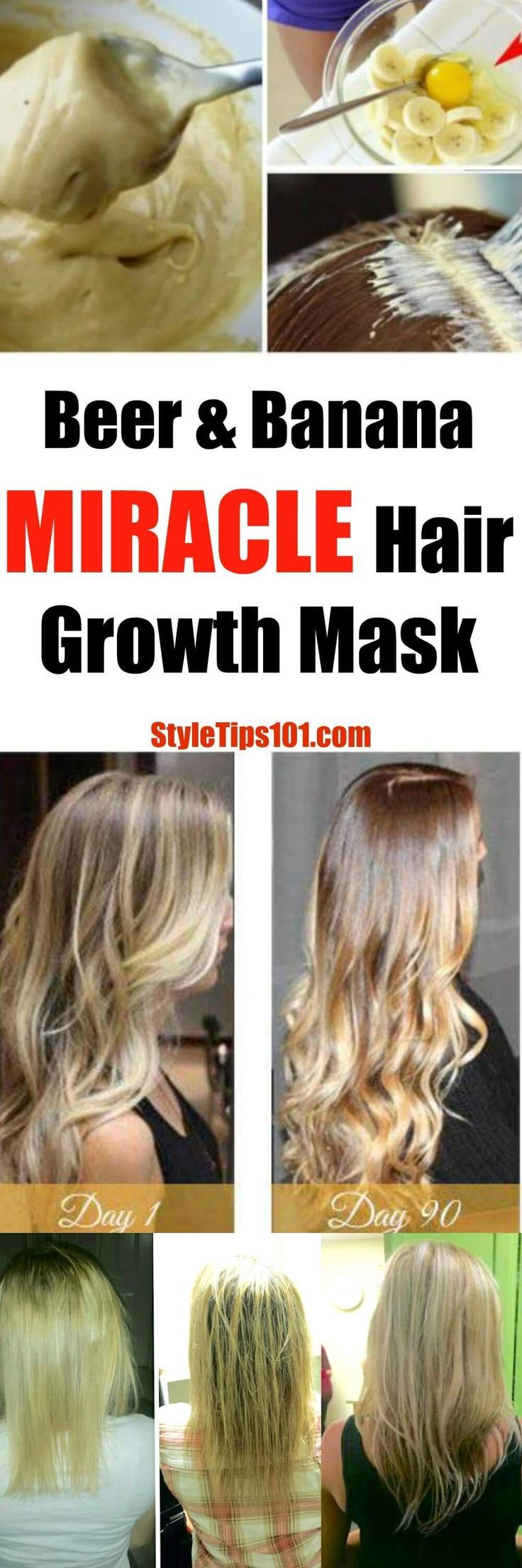 This DIY hair growth mask is seriously a MIRACLE in a bowl! Made with honey, banana, beer, and egg yolk, it will promote fast and healthy hair growth! via @styletips1o1