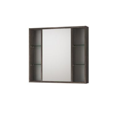 Armadietto a specchio Kora L 74 x H 75 x P  16 cm rovere-35846426