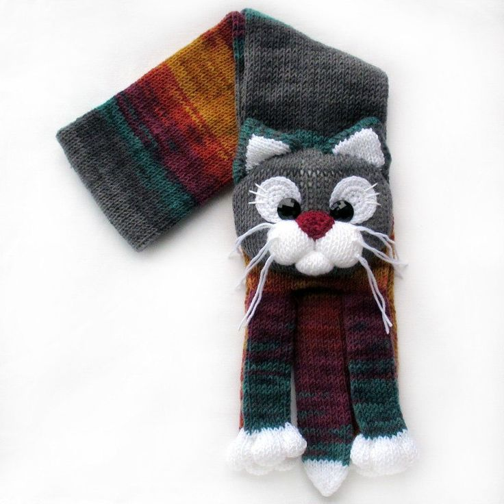 Knitted cat scarf,Knitted scarf,Animal scarf,Cat scarf,Knit scarf by…