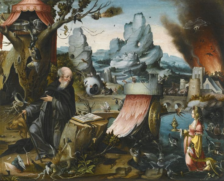 Follower of Hieronymous Bosch THE TEMPTATION OF SAINT ANTHONY oil on oak panel 53 by 60 cm.; 20 7/8  by 23 1/4  in