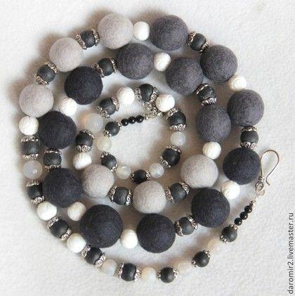 Бусы в серых тонах - серый,серые бусы,украшение на шею,украшения ручной работы