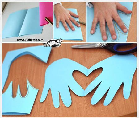 Simple Hands Forming Heart Paper Valentine's Day Card