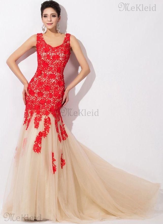 Meerjungfrau Tüll Reißverschluss normale Taille formelles Abendkleid mit Bordüre