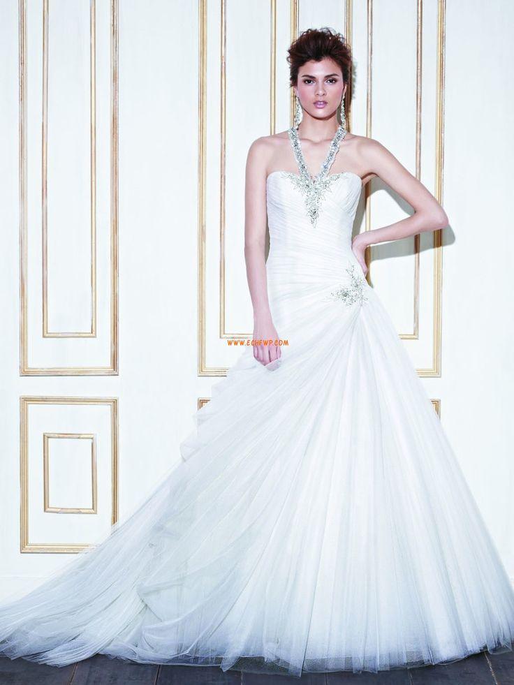 Glamorous Tulle Sweetheart Ball Gown Chapel Train Wedding Dresses Cheap