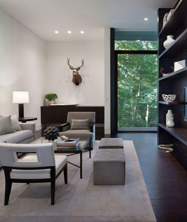 wohnzimmer grau weiß dunkel holz bodenbelag | home | pinterest ... - Wohnzimmer Dunkles Holz