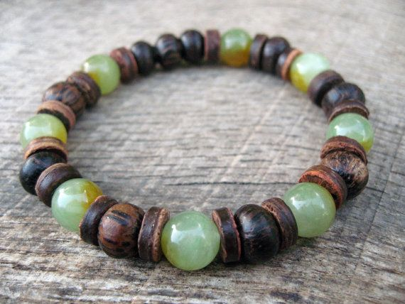 Mens Surfer Bracelet Jade Wood And Coconut Beaded