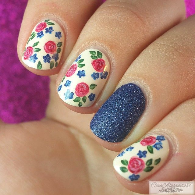 Pink & navy floral nails