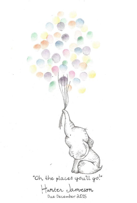 Baby Elephant holding a bundle of Balloons, Fingerprint Guest Book, Shower, Birthday, Party, Art, Pen, Ink, Custom Printable Design