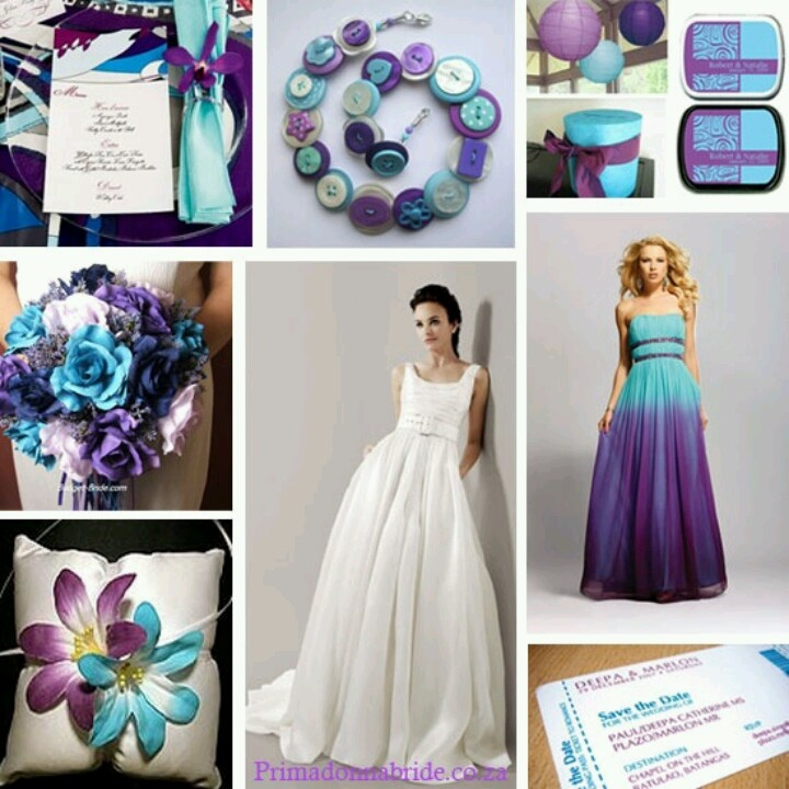 Wedding Gown Color Meanings: Non-peacock Themed Purple And Teal Weddings