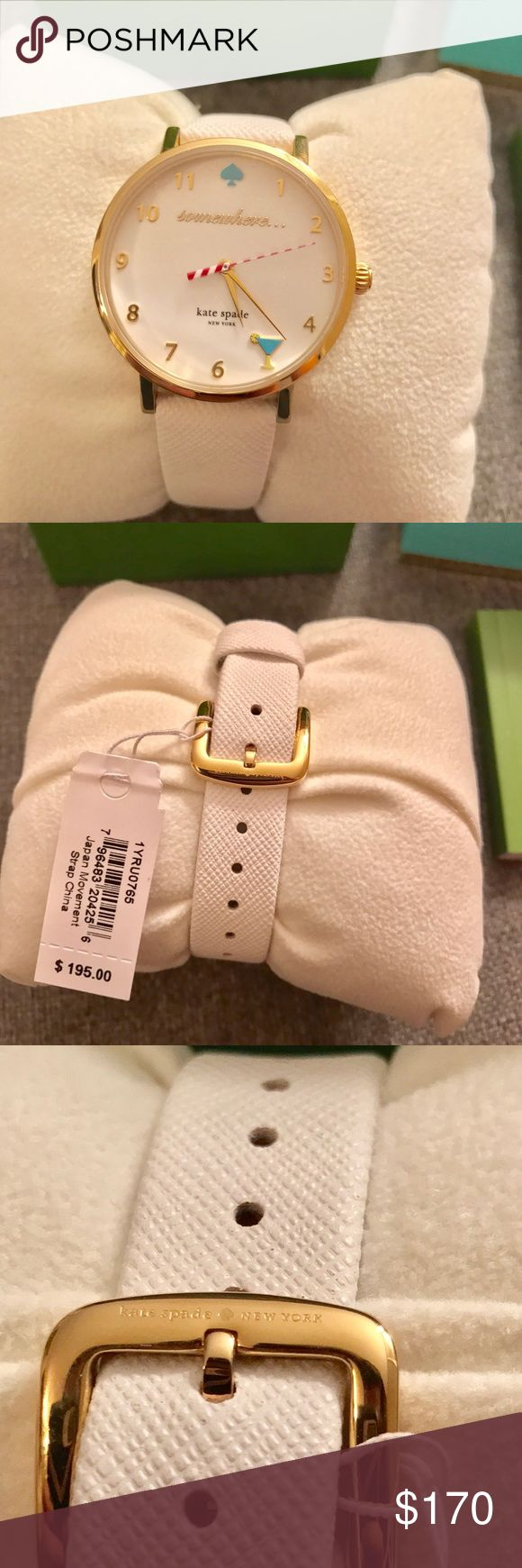 """Kate Spade White Leather 5 O'Clock Somewhere Watch Brand new Kate Spade New York Goldtone Metro 5 O'Clock Somewhere Vachetta Leather Watch. White enamel dial, martini glass at 5 O'Clock mark, inscription reads """"somewhere"""", water resistant, 34mm case. Make an offer. kate spade Accessories Watches"""