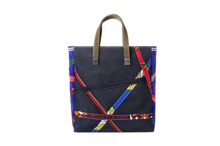 Tetris Patchwork bag made of canvas from safari tents, traditional African fabrics and school uniforms. From Carmina Campus F/W 2013-2014 made in Africa collection.