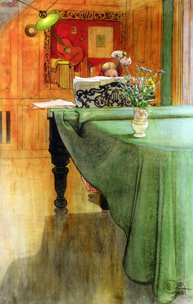 larssonLarsson Brita, Carl Larson, Artcarl Larsson, Art Blog, The Piano, Colors Palettes, Music Room, Piano Room, Floor Art