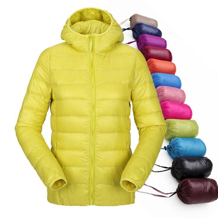 Wanita cahaya ultra jaket berkerudung musim dingin duck bawah jaket wanita ramping jaket lengan panjang ritsleting mantel 2016 kantong padat