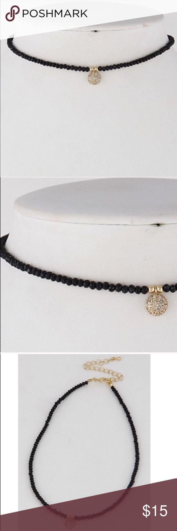 Sparkly Beaded Choker w/ Round Pendant Brand new- still in original packaging! Dainty black and gold Beaded choker with adjustable clasp. ✖️Color & sizing shown in all photos. 🌜measurements: 12 approx. ••• FAST SHIPPING ••• 🚫 NO TRADES. Firm on price but open to hearing reasonable offers. Topshop Jewelry Necklaces